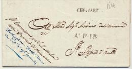 P.R-(77)::PREFILATELICA DEL 1846 DA  CHIAVARI X S. STEFANO CONTENUTO CON CARTA INTESTATA - Italie