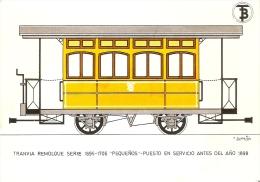 POSTAL DE ESPAÑA DEL TRANVIA REMOLQUE DEL AÑO 1898 (TREN-TRAIN-ZUG) TRANSPORTES DE BARCELONA - Tranvía