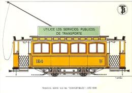 POSTAL DE ESPAÑA DEL TRANVIA SERIE 142-164 DEL AÑO 1898 (TREN-TRAIN-ZUG) TRANSPORTES DE BARCELONA - Tranvía