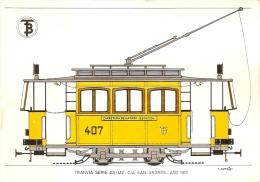 POSTAL DE ESPAÑA DEL TRANVIA SERIE 401/412 CIA SAN ANDRES DEL AÑO 1901 (TREN-TRAIN-ZUG) TRANSPORTES DE BARCELONA - Tranvía