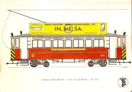 POSTAL DE ESPAÑA DEL TRANVIA SERIE 426/437 DE 4 EJES VIA ESTRECHA DEL AÑO 1902 (TREN-TRAIN-ZUG) TRANSPORTES DE BARCELONA - Tranvía