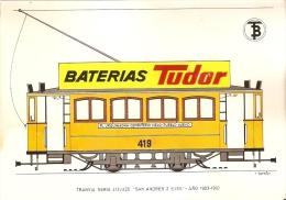 POSTAL DE ESPAÑA DEL TRANVIA SERIE 413/425 SAN ANDRES 2 EJES DEL AÑO 1903 (TREN-TRAIN-ZUG) TRANSPORTES DE BARCELONA - Tranvía