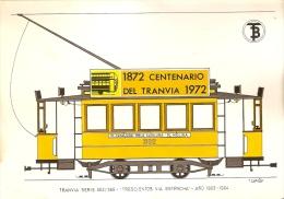 POSTAL DE ESPAÑA DEL TRANVIA TIPO TRESCIENTOS VIA ESTRECHA DEL AÑO 1903 (TREN-TRAIN-ZUG) TRANSPORTES DE BARCELONA - Tranvía