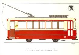 POSTAL DE ESPAÑA DEL TRANVIA MAQUITRANS 2 EJES DEL AÑO 1943 (TREN-TRAIN-ZUG) TRANSPORTES DE BARCELONA - Tranvía