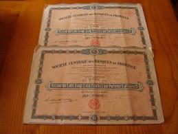 Lot : Action Société Centrale Des Banques De Province 125 Frs . 1928 . Lot De 2 Actions - Banque & Assurance