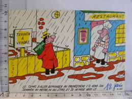Carte Commerciale DEROCHE 94 CHARENTON - Illustrateur TIENNO - Humour, Restaurant, Terrain à Vendre, Pluie... - Other Illustrators
