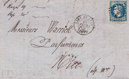 France 1869, LETTRE GARE DE LYON 18 FEVRIER 69 - 1863-1870 Napoleon III With Laurels