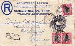 Südafrika 1930, R-Brief Mit 3d Ganzsache Mit 3 Fach Zusatzfrankierung Von Südafrika Nach Germany-Bad Pyrmont - Südafrika (...-1961)