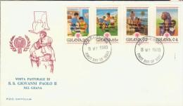 DV6-19 GHANA 1980 FDC MI 834-837 PAPAL VISIT TO GHANA, GIOVANNI PAOLO II, JOHANNES PAULUS II, PAPA, POPE, PAPST, PAUS. - Papi