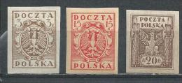 Poland. Scott # 81,112-13 MNH. Coat Of Arms. 1919-20 - ....-1919 Overgangsregering