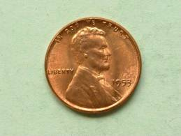 1953 - One Cent / KM A132 ( Uncleaned - For Grade, Please See Photo ) ! - 1909-1958: Lincoln, Wheat Ears Reverse