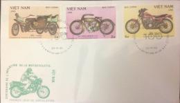 Vietnam: Old Motobykes - 1985 Complteted 03 FDC - Fine - Motos