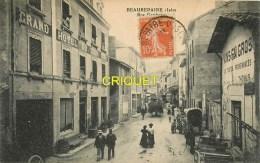 Cpa 38 Beaurepaire, Rue Gambetta, Animée, Belles Charrettes, Hotel, Commerces...belle Carte Peu Courante Affranchie 1910 - Beaurepaire