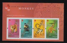 Hong Kong Chinese New Year Stamp Sheetlet Overprinted SPECIMEN In Folder: 2004 Monkey HK121324 - Hong Kong (1997-...)