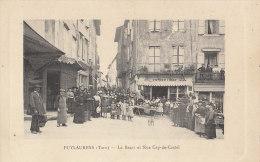 81 PUYLAURENS  Animation Devant Le BAZAR Angle Rue Cap De Castel Chapellerie CHAPEAUX Du Monde Au Balcon - Puylaurens