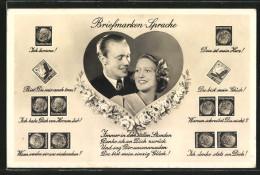 """CPA Briefmarkensprache """"Ich Komme!"""", """"Du Bist Mein Glück!"""", Verliebtes Pärchen - Timbres (représentations)"""