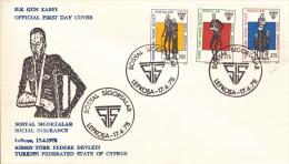 Cyprus, Turkish Republic FDC Scott #52-#54 Set Of 3 Social Security - Chypre (Turquie)