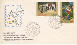 Cyprus, Turkish Republic FDC Scott #120-#121 Set Of 2 Art Treasures - Chypre (Turquie)
