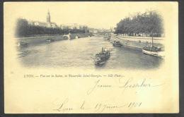 France - CF007 - CP Lyon - (2scan) La Saône, La Passerelle Saint Georges - Bateaux Péniches - Timbre Type Blanc N°111 1A - Autres
