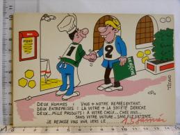 Carte Commerciale DEROCHE  94 CHARENTON, Illustrateur TIENNO, Humour Restaurant, Représentant - Other Illustrators