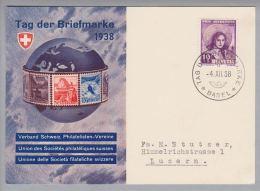 Schweiz Sonderstempel 1938-12-04 Tag Der Briefmarke Basel Auf Offiz.Karte Deutsch - Lettres & Documents