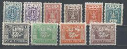 Poland. Scott # 170-76,79,82-83 MLH & Mint No Gum. Polish Eagle. 1922-23 - Ongebruikt