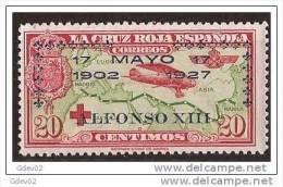 ES366-LA1021TA.España. Spain   Espagne.CRUZ ROJA ESPAÑOLA AEREA.SOBRECARGADA1926 (Ed 366**). Sin Charnela MAGNIFICO - Nuevos & Fijasellos