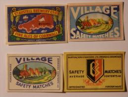 Czechoslovakia 4 Old Matchbox Labels - Zündholzschachteletiketten