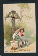 ENFANTS - Jolie Carte Fantaisie Gaufrée Couple Enfants Assis Sur Un Banc Avec Pommes (embossed Postcard) - Kinder-Zeichnungen