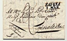 P.R-(265)::PREFILATELICA 1832 SAVONA   X FINALE LETTERA MANOSCRITTA SU CARTA INTESTATA - 1. ...-1850 Prephilately