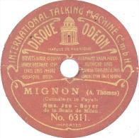 """Disque 78T / 19 Cm 2 Faces – Mlle Jau-Boyer – Odéon 6311/6313 – """"Connais-tu Le Pays"""" (""""Mignon"""") / """"L'amour"""" (""""Carmen"""") - 78 T - Disques Pour Gramophone"""