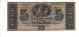 CITIZEN'S BANK---New Orleans    $5.00  DOLLAR  Bill  1850's-60's Haxby LA-15-G12c--- PMG 66-EPQ-UNC. - Stati Uniti