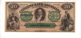 CITIZEN'S BANK---New Orleans    $20.00  DOLLAR  Bill  1860's Haxby LA-15-II-G68a---CU Crisp PCGS 67 - Zonder Classificatie