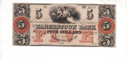 HAGERSTOWN---Maryland    $5.00  DOLLAR  Bill  (1808-1928 ) Haxby MD-240-II-G40B---PCGS 63 Choice UNC. - Maryland