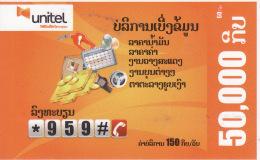 Laos Phonecard  Unitel Lotto Number - Laos