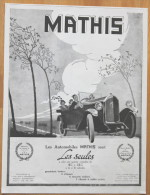 Publicité Ancienne : Automobile Mathis. - Werbung