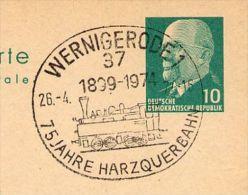TRANS HARZ RAILROAD Wernigerode 1974  On East German Postal Card P 75 - Trenes