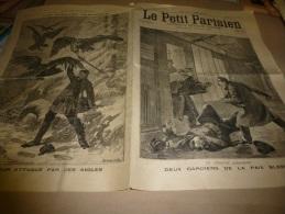 """1898  LE PETIT PARISIEN :Le Facteur Attaqué Par Des Aigles; Attentat Anarchiste ; Sauvés Par Les COCHONS Du """"Kameruka"""" - Newspapers"""