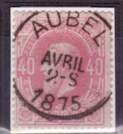 N°34 Càd Idéalement Apposé AUBEL/1875. Superbe - 1869-1883 Léopold II