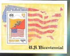 MNH BHUTAN #  241A : SOUVENIR SHEET FLAGS BHUTAN UNITED STATES - Bhoutan