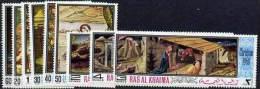 54 - Ras Al Khaima 1968 Christmas Religious Paintings Set Of 9 Unmounted Mint (Mi 267-75A) - Ra's Al-Chaima
