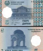 Tajikistan #11a, 5 Diram, 1999 (2000), UNC - Tadschikistan
