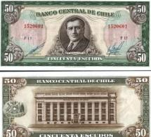 Chile #140b, 50 Escudos, ND, AU - Chile