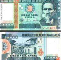 Peru #140, 10.000 Intis, 1988, UNC - Peru