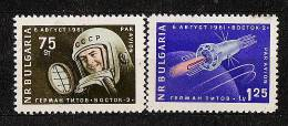 13-857 //  1961 START VON WOSTOK II  MiNr 1279/80  ** - Bulgarien