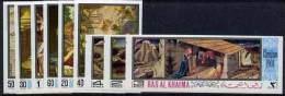55 - Ras Al Khaima 1968 Christmas Religious Paintings Imperf Set Of 9 Unmounted Mint (Mi 267-75B) - Ra's Al-Chaima