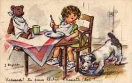 IllustrateurJ LAGARDE Veinard Tu Peux Lecher L´assiette Toi, Fillette A Table, Chien, Ourson En Peluche - Illustrateurs & Photographes