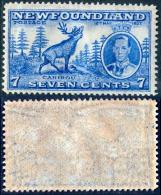 NEWFOUNDLAND 1937 KGVI & Caribou 7c. Bright Ultramarine, Perf. 14, VF MNH - 1908-1947