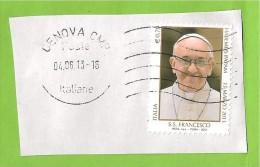 ITALIA REPUBBLICA PAPA FRANCESCO 0,70 2013 USATO SU FRAMMENTO - 2011-...: Usati