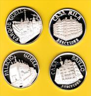Coleccion GAUDI 4 Medallas Plata 999/000 Calidad PROOF Cada Pieza 45mm 48,9 Gr Plata - Profesionales/De Sociedad
